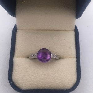 14k wg faceted amethyst ring